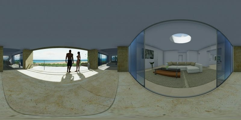 Un rendu panoramique à 360° de l'intérieur d'une habitation avec un salon et deux personnes devant une grande baie vitrée, issu de Edificius le logiciel de conception architecturale 3D BIM.