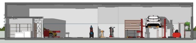 Une vue en coupe de l'atelier mécanique automobile ou l'on peut voir la zone de levage, l'atelier avec l'établis, la zone d'expertise et le vestiaire