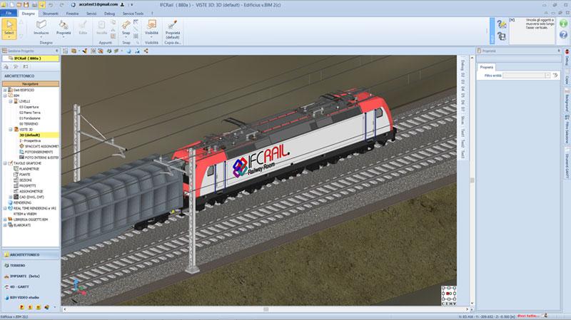 Une capture d'écran de Edificius pour l'ajout des textures des textures sur les wagons modeleur 3D IFC Rail