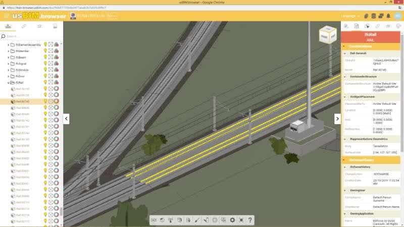 Chargement du modèle sur la plateforme usBIM.platform des voies ferrées