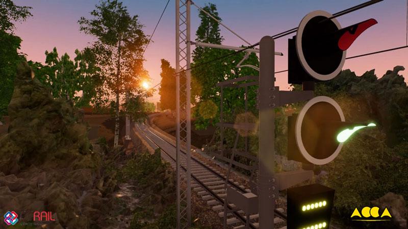 Une capture d'écrans avec un coucher de soleil sur la voie ferrée avec le module RTBIM de Edificius