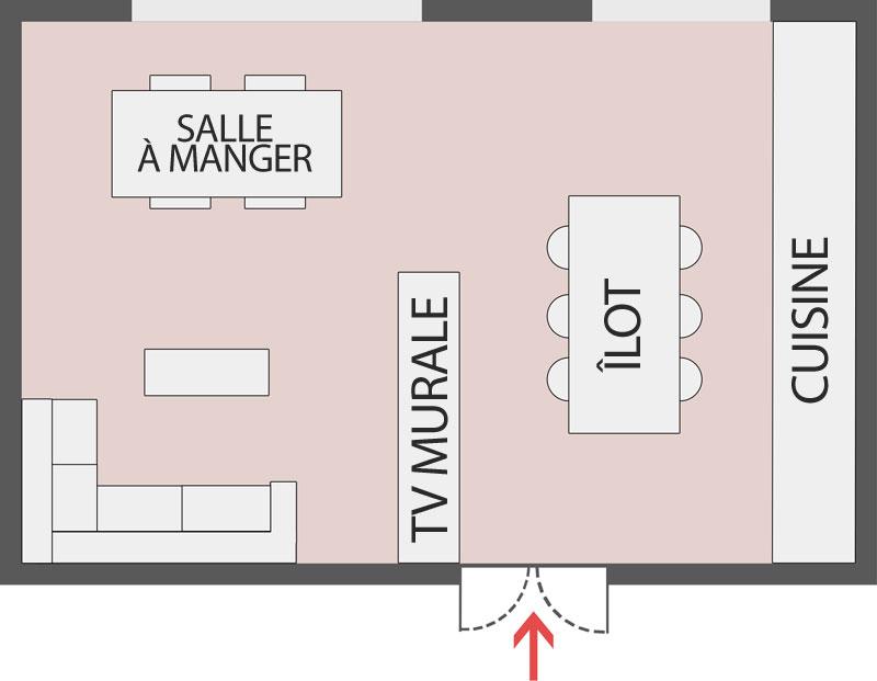 Une diapositive d'un schéma de l'espace ouvert d'une cuisine et un salon totalement intégrés