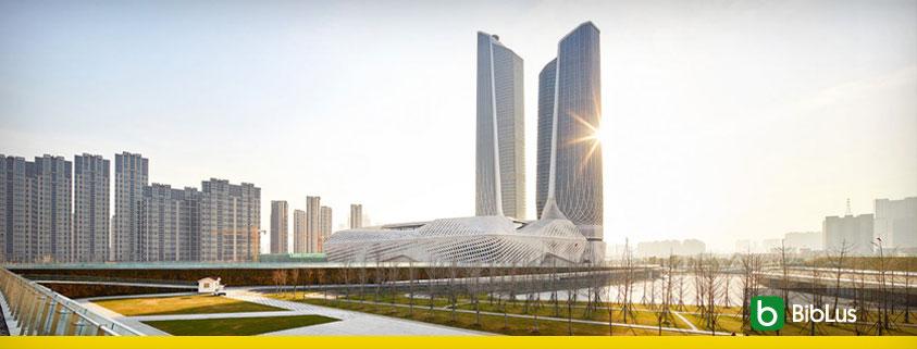 Une vue de loin des deux tours du Centre Culturel de la Jeunesse de Nankin