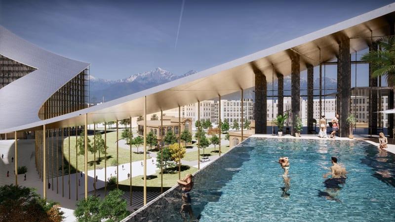 Un rendu d'un des espaces ,une piscine qui surplombe le parc