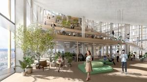 Un rendu de l'espace de vie d'une des tours , l'image représentent des gradins en bois avec des plantes , un espaces très reposant
