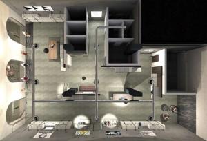 Le rendu et une vue en plan de la perspective du magasin avec ses différents espaces comme les cabines d'essayage, les vitrines,la réception