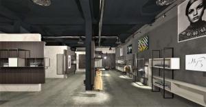 Le rendu est une perspective de la réception avec ses étalages et un plafonds noirs qui contraste avec le sol très claire
