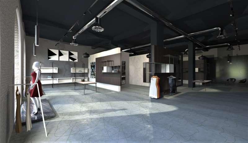 Le rendu représente l'espace de vente d'un magasin de vêtements, on peut voir un des étalages un peu sombre avec un plafond noir et un sol très claire.
