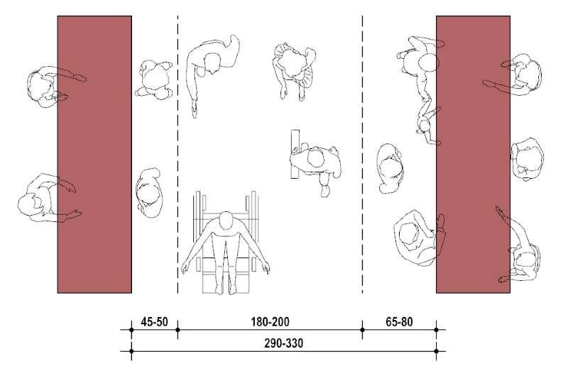 La diapositive représentent un schéma d'un parcours de vente assistée qui donne les mesures entre les deux comptoirs pour qu'il est l'espace de passer avec un fauteuil roulant et la place pour des personnes devant le comptoirs de vente.