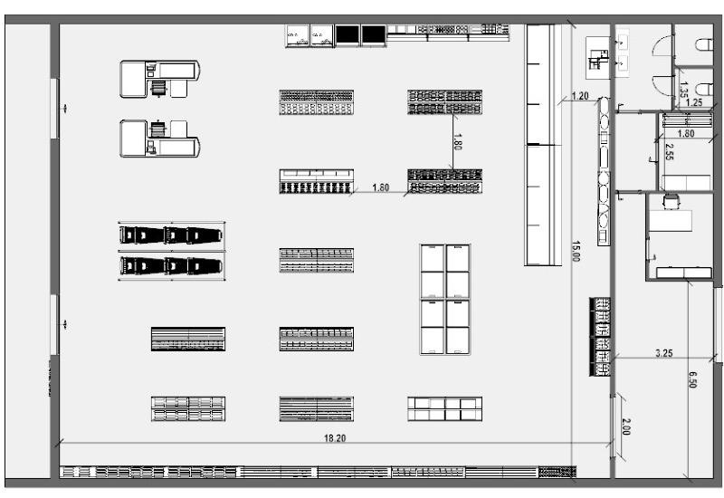 plan d'un supermarché - dessin réalisé avec logiciel BIM Edificius