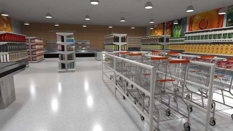 Une diapositive de l'entrée d'un supermarché avec en premier plan les chariots et on aperçois les différents rayons ,issu de Edificius logiciel de conception architecturale 3D BIM.
