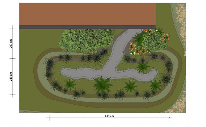 Un dessin planimétrique d'un jardin de pluie avec sa végétations