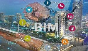 Une diapositive avec une main au centre de qui évoque les différents processus de la méthodologie BIM