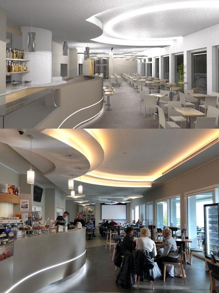 L'image se divise en deux celles du haut et le rendu du restaurant avec un long comptoirs en forme de vague , des grandes baies vitrées qui font entrer la lumières naturel les chaises et les tables sont contemporaines ainsi que le faux plafonds qui suit la forme du comptoirs et ses lumières Led qui donne une lumières linéaires et celle du bas qui montre la réalisation finie