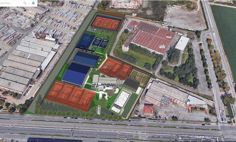 Vue aérienne Situation de conception du Monviso Sporting Club dessiner en bleu