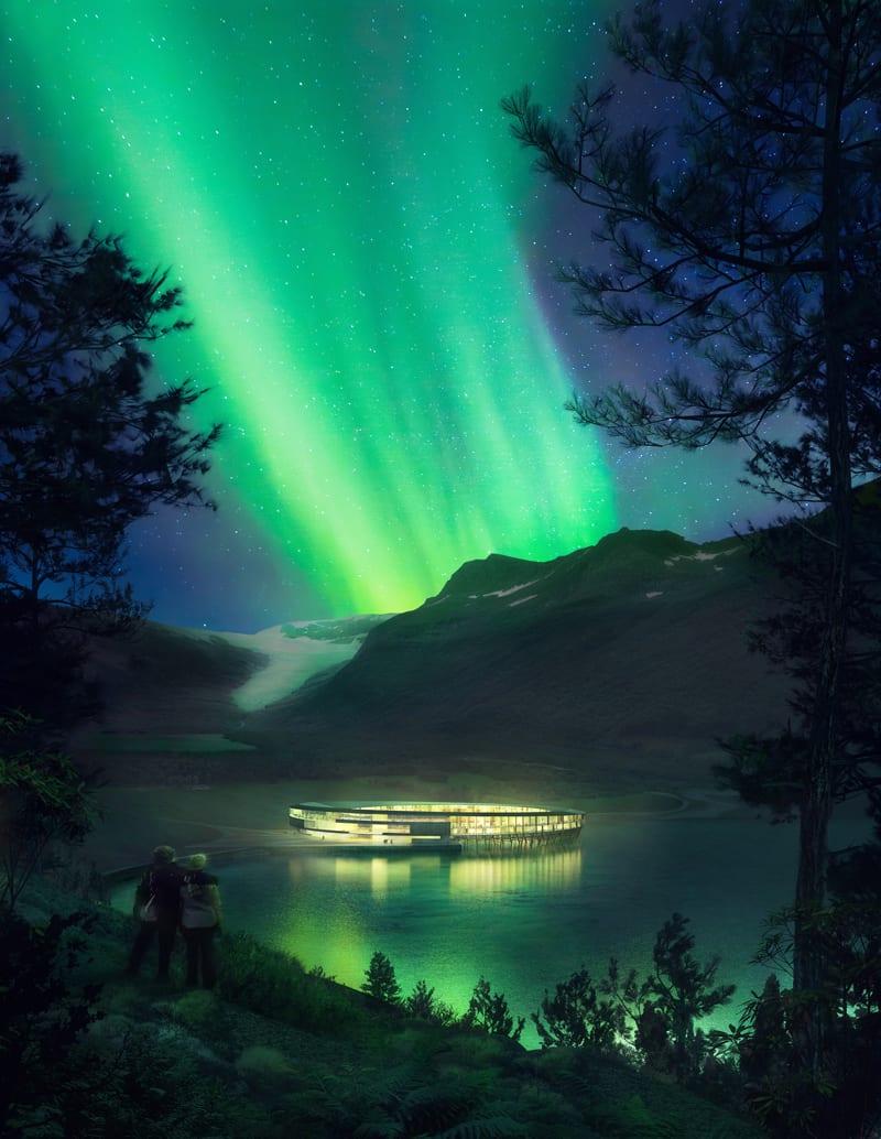 Le rendu est un hôtel sur palafitte au milieu de l'arctique en forme d'anneaux ou l'on voit aurore polaire