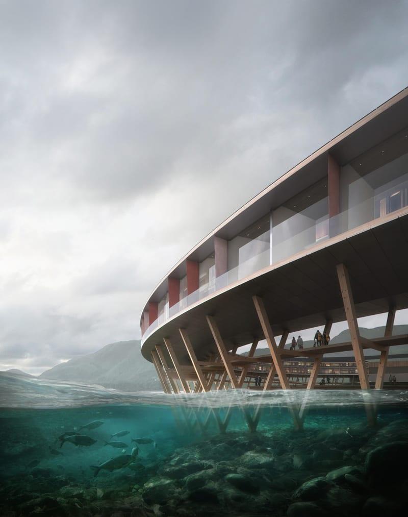 Le rendu est un hôtel sur palafitte au milieu de l'arctique en forme d'anneaux
