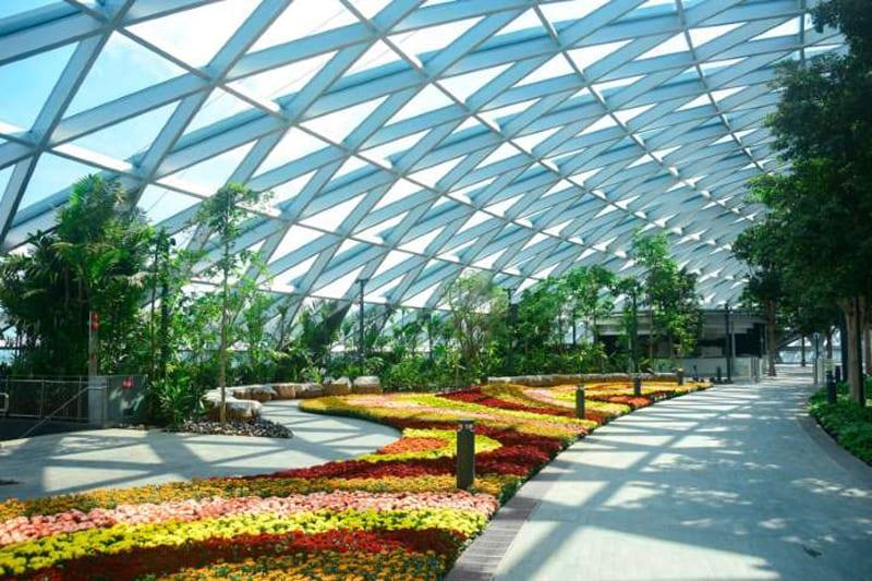 le rendu est un jardin de fleurs qui côtoie la coupoles en verre.