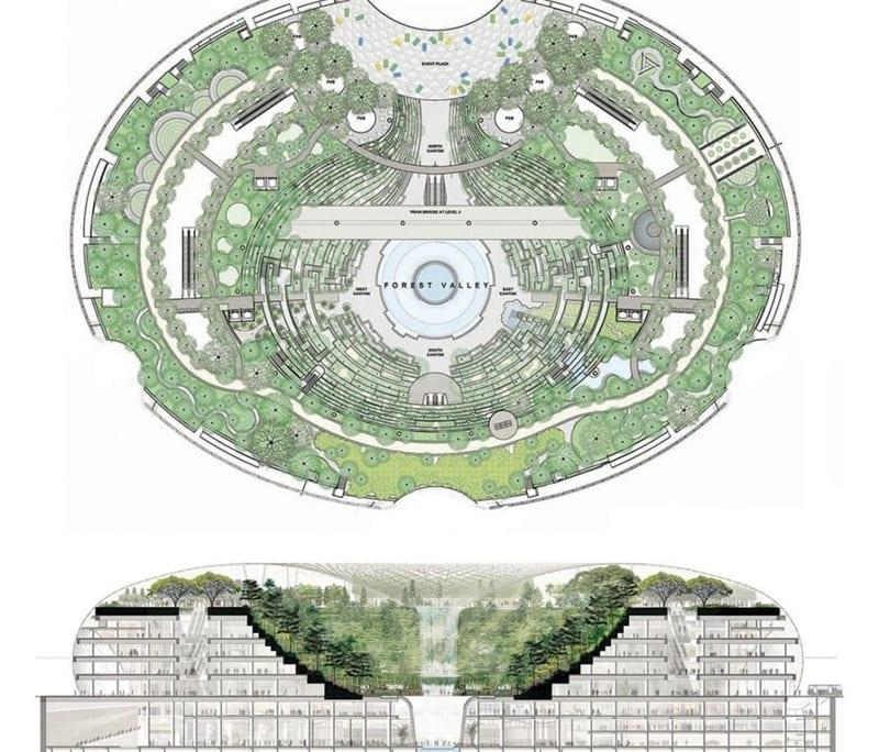 La vue en plan représente une forme ovale à l'intérieur du quel se situe le jardin tropical et la chute'd'eau au centre de la structure, la vue en coupe montre comment les gradin du jardin tropical forme plusieurs étage