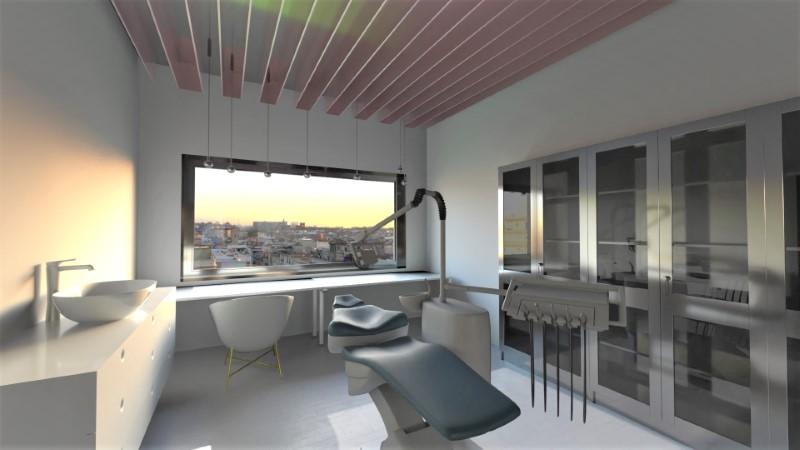 Le rendu représente une salle des soins du cabinet dentaire avec son fauteuil de dentiste, la salle est de couleur claire est il y a une grande fenêtre.