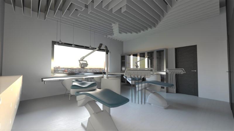 Le rendu représente une salle des soins du cabinet dentaire avec deux fauteuils de dentiste, la salle est de couleur claire est il y a une grande fenêtre.