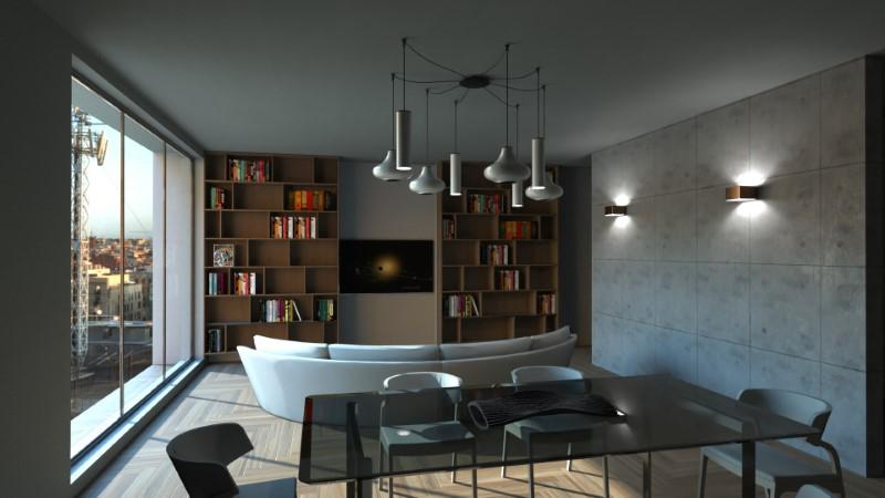 Le rendu du salon, et une entrée directe au salon on peut voire un beau lampadaire et des points de lumière au mur, une table en verre et un canapé blanc en face d'une librairie et la télévision au milieu, issu de Edificius logiciel de conception architecturale 3D BIM.