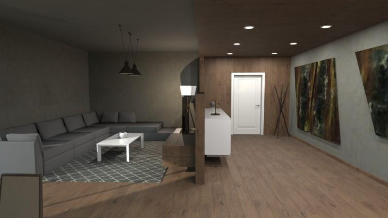 L'armoire basse, qui divise conceptuellement les zones, devient également l'emplacement pour la TV de la zone de détente, caractérisée par le grand canapé d'angle
