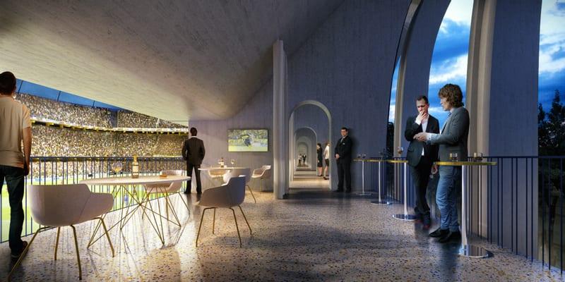 Un rendu des nouveaux espaces intérieurs du stade La Bombonera avec des balcons transformer en zone de relax avec des tables des chaises et une vue sur la pelouse.