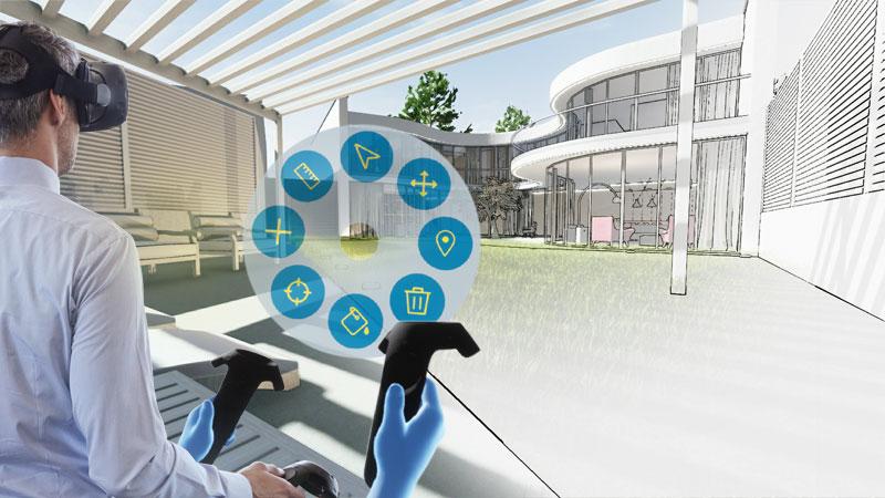 L'image représente une capture d'écran, dans laquelle il est possible de se plonger dans la conception avec une vue d'intérieur grâce à un casque et des manette qui permettent la configuration spatiale, dimensionnelle et fonctionnelle, le logiciel Edificius de conception architecturale 3D BIM.