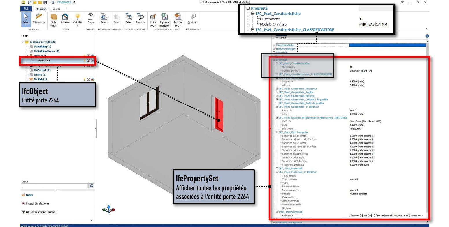 Une capture d'écran du logiciel usBIM.viewer+ des IFCPropertyDefinition qui illustre les propriétés de l'entité porte