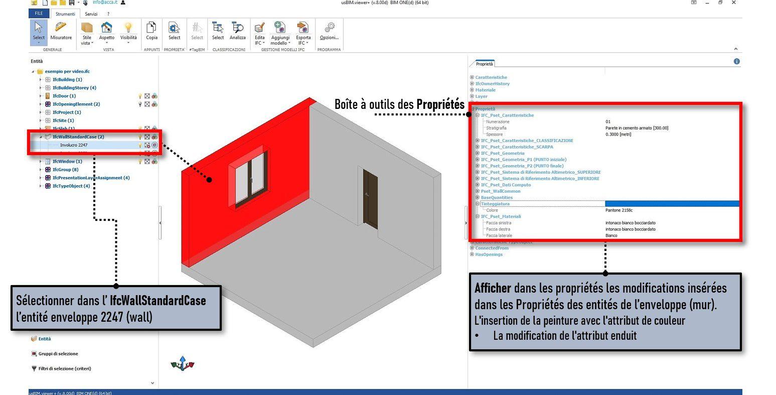 La capture d'écran du logiciel usBIM.viewer+ montre comment vérifier les propriétés insérées dans IFCPropertyDefinition