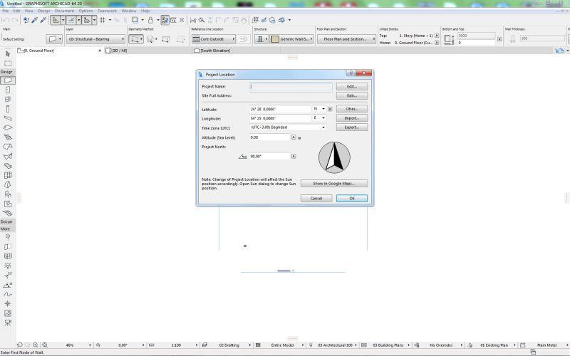 La diapositive est une capture d'écran du logiciel Archicad ou s'affiche la boite de dialogue du projet location de IFC coordinate system