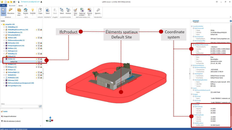 Une capture d'écran du logiciel usBIM.viewer+ qui montre comment localiserIFC coordinate system