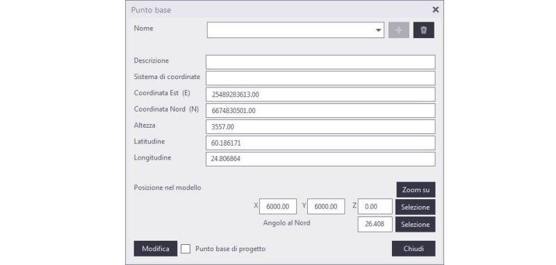 La diapositive est une capture d'écran du logiciel Tekla ou s'affiche la boite de dialogue point base ou il est possible d'insérer IFC coordinate system
