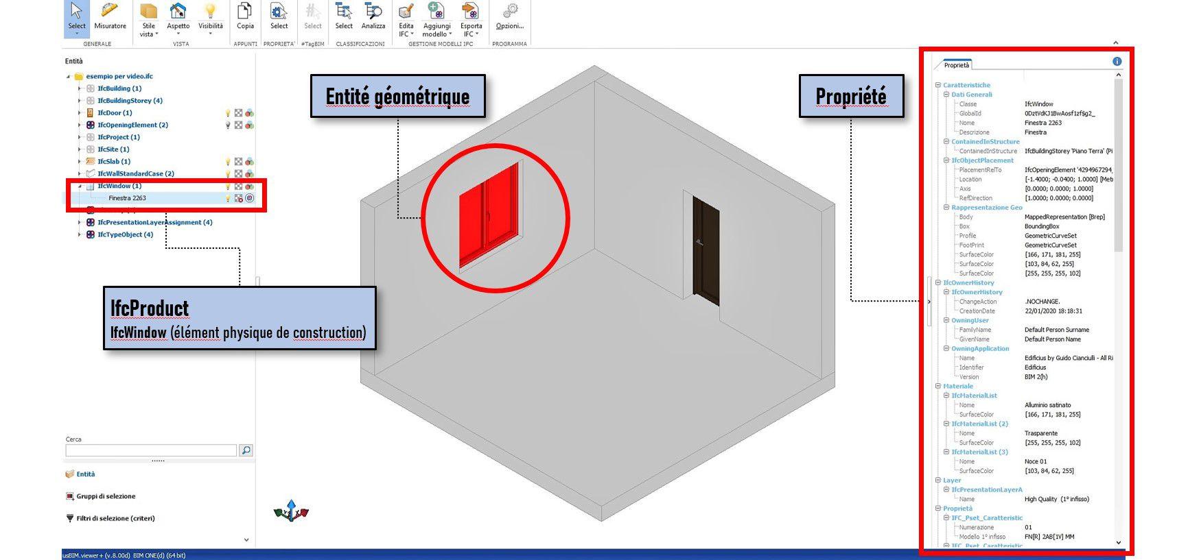 Logiciel usBIM.viewer+ | Localisation d'un IfcObject (IfcWindow) et de ses propriétés