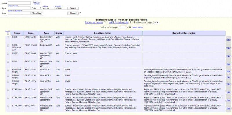Capture d'écran du service en ligne de l'EPSG