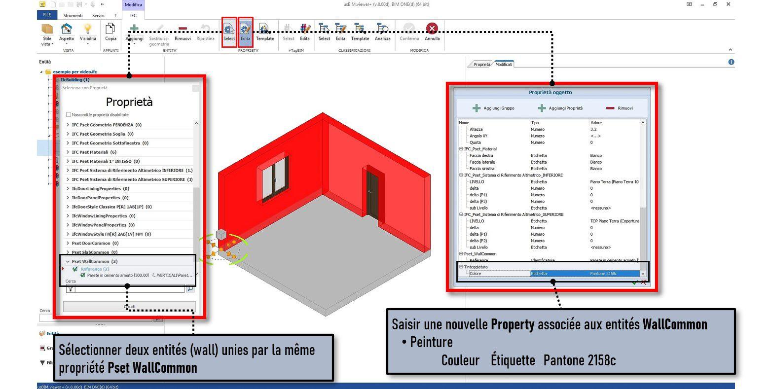 Une capture d'écran qui montre comment ajouter une propriété de IFCPropertyDefinition à un ensemble d'entités dans usBIM.viewer+