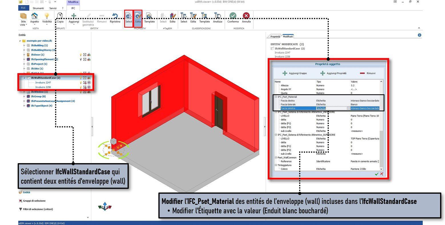 La capture d'écran du logiciel usBIM.viewer illustre IFCPropertyDefinition et comment modifier les propriétés des entités d'enveloppe incluses dans l'IfcWallStandardCase