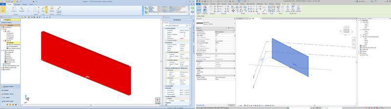 Les deux logiciels en comparaison:à gauche Edificius, à droite Revit
