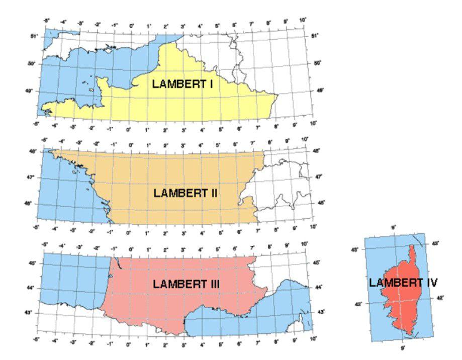 IFC coordinate system Projection conique conforme de Lambert