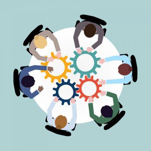 Le BIM c'est quoi L'image représente plusieurs personnes assises à une table c est une métaphore pour expliquer la collaboration des intervenants dans un processus BIM