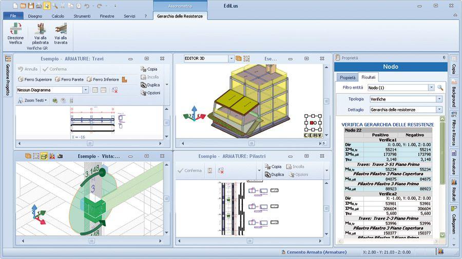 Le BIM c'est quoi Capture d'écrans des différentes vues du logiciel BIM EdiLus pour le calcul des structures