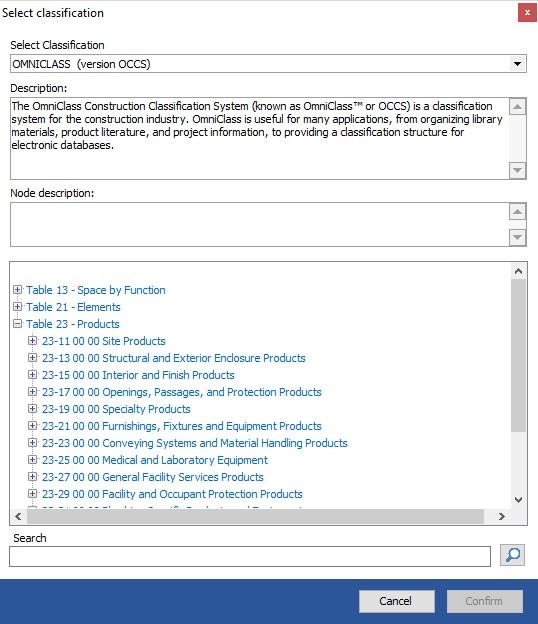 Une fenêtre de us.BIM.viewer+ pour l'implémentation du système de classification OmniClass dans usBIM.viewer+