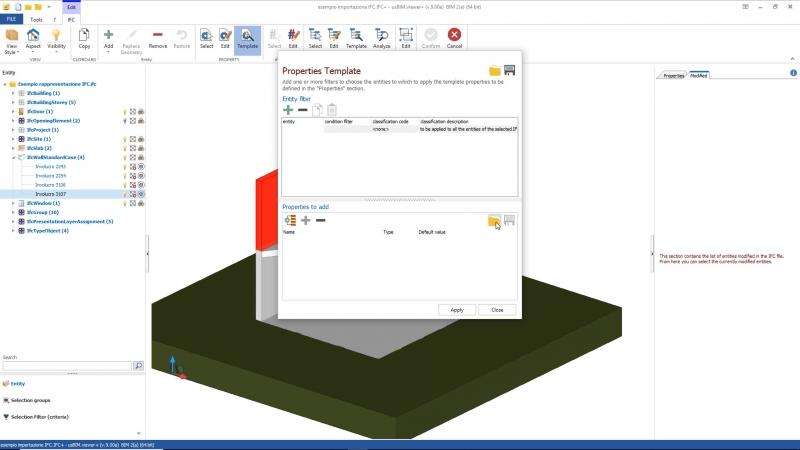 L'image représente une capture d'écran de la visionneuse usBIM.viewer+ des Property Set IFC d'un fichier Excel.