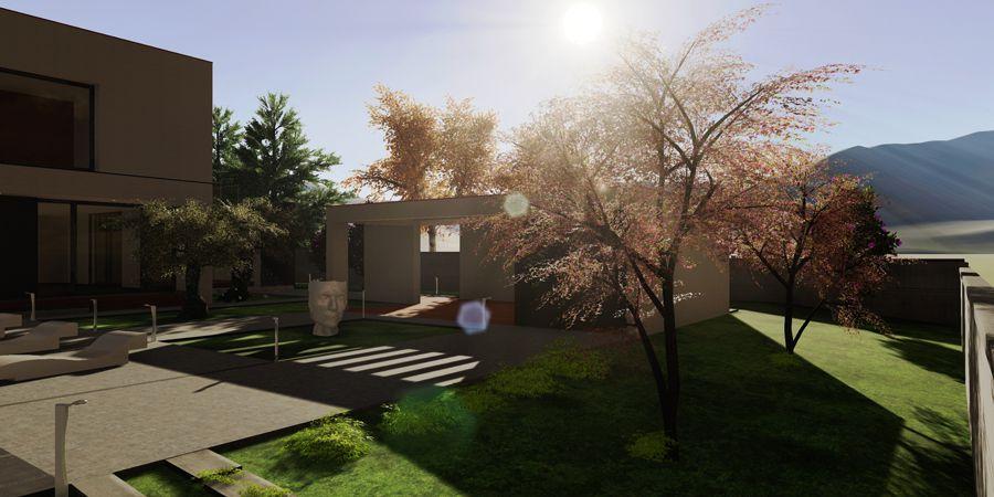 L'image est un Rendu extérieur avec une maison au quel on a appliqué des effets de lumières issu de Edificius logiciel BIM de conception architecturale.