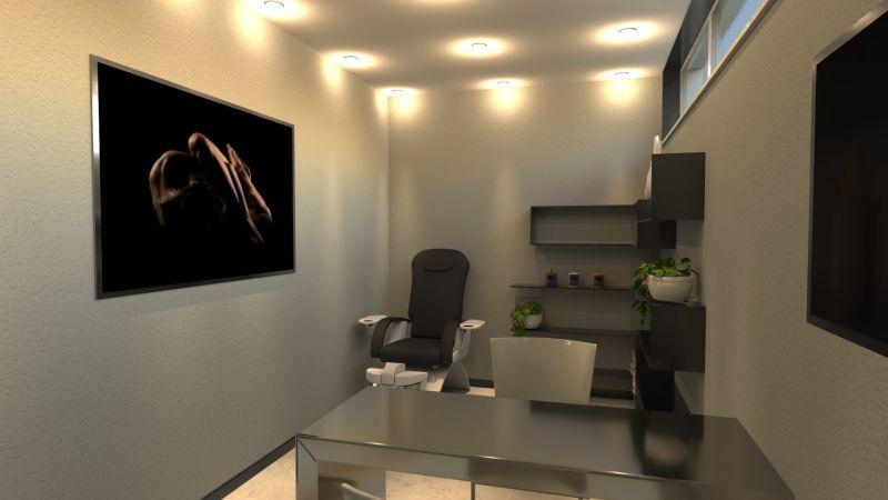 L'image représente la salle de manucure un espace de 5 mètre carré avec des lumiere encastres dans le faux plafond et un bureaux pour pratiquer le soins des ongles.