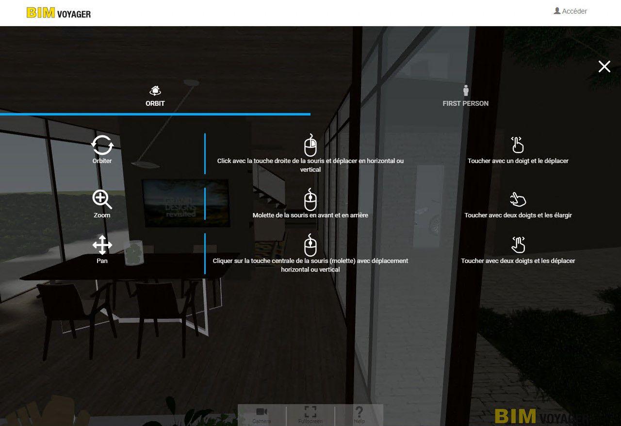 Image montrant comment naviguer dans la modélisation 3D