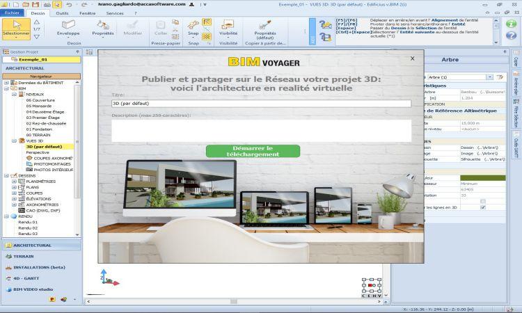 Une capture d'écran de puis le logiciel Edificius qui vous permet de partager et afficher vos modélisations en ligne BIM en ligne