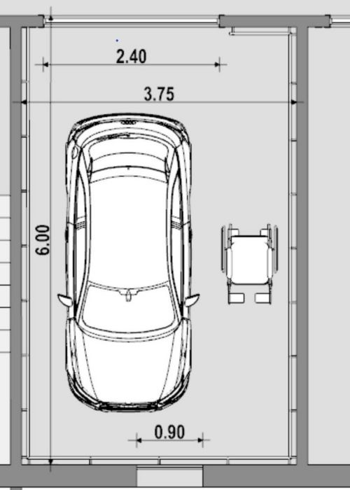 Dessiner plans garage pour personne à mobilité réduite vue en plan issue du logiciel Edificius