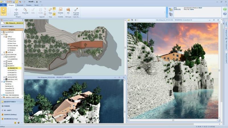 Rendu de la Villa Malaparte issu de Edificius, le logiciel BIM pour l'architecture
